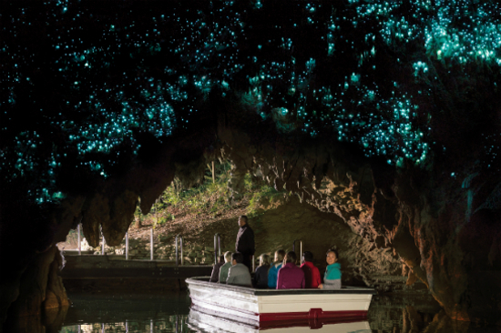 2018update_Waitomo Glowworm Caves 1516 NZ Boat with Glowworms at Exit