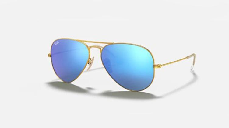 Ray-Ban Aviator 太陽眼鏡 (RB3025) - 水銀 砂金框 x 藍鏡 $1128起/每副 原價$1700起